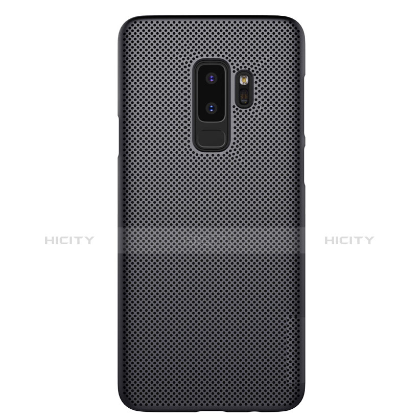 Handyhülle Hülle Kunststoff Schutzhülle Punkte Loch für Samsung Galaxy S9 Plus Schwarz groß