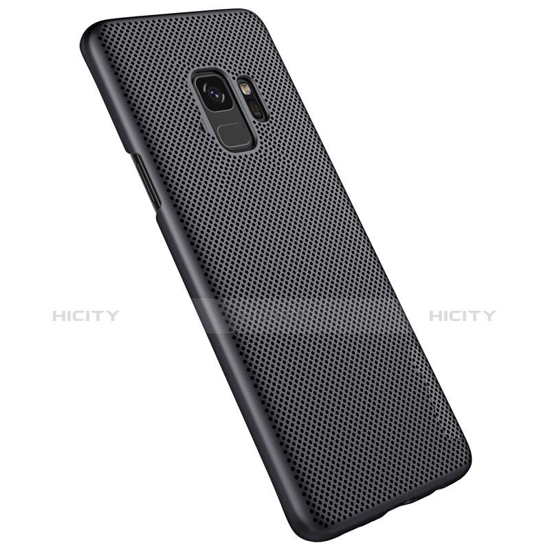 Handyhülle Hülle Kunststoff Schutzhülle Punkte Loch für Samsung Galaxy S9 Schwarz groß