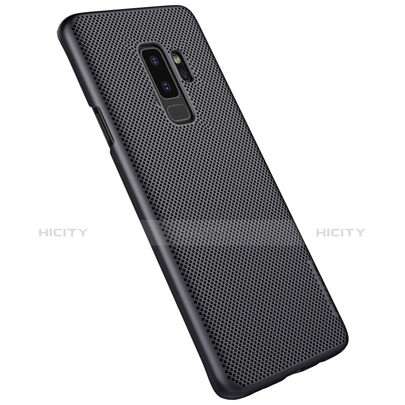 Handyhülle Hülle Kunststoff Schutzhülle Punkte Loch M01 für Samsung Galaxy S9 Plus Schwarz groß