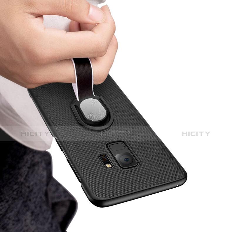 Handyhülle Hülle Kunststoff Schutzhülle Punkte Loch mit Fingerring Ständer für Samsung Galaxy S9 Schwarz groß