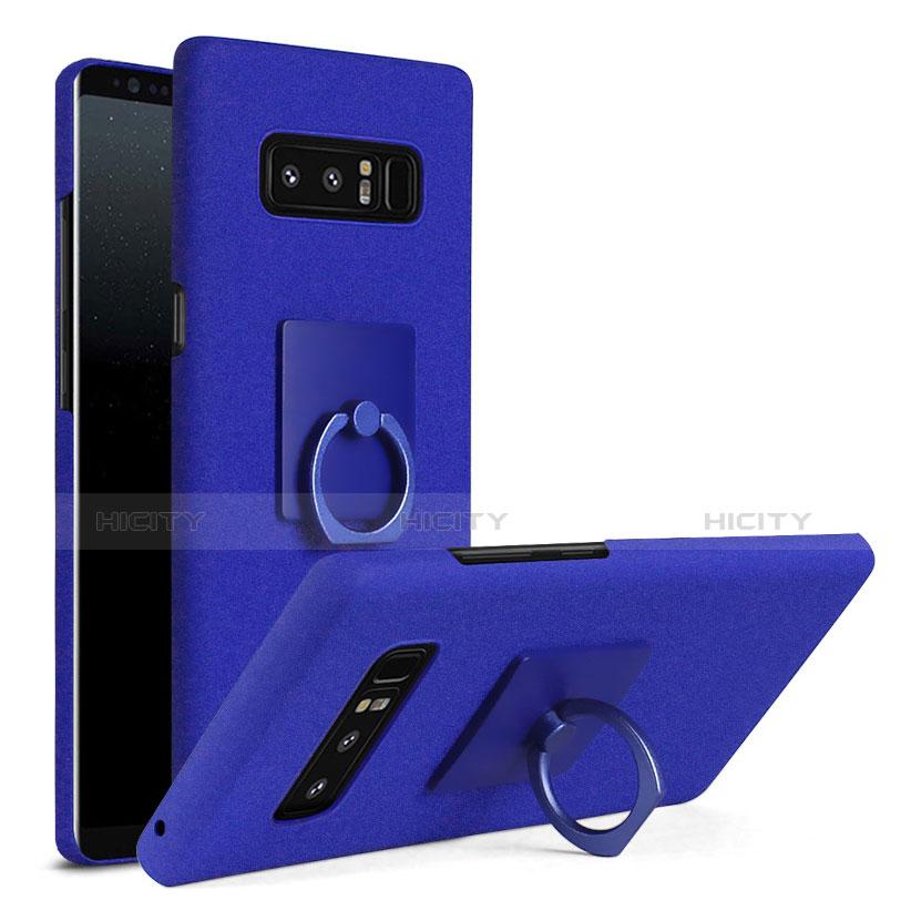 Handyhülle Hülle Kunststoff Schutzhülle Tasche Matt mit Fingerring Ständer A01 für Samsung Galaxy Note 8 Blau Plus