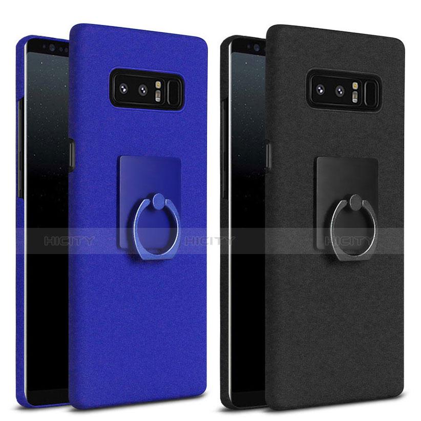 Handyhülle Hülle Kunststoff Schutzhülle Tasche Matt mit Fingerring Ständer A01 für Samsung Galaxy Note 8 Duos N950F groß