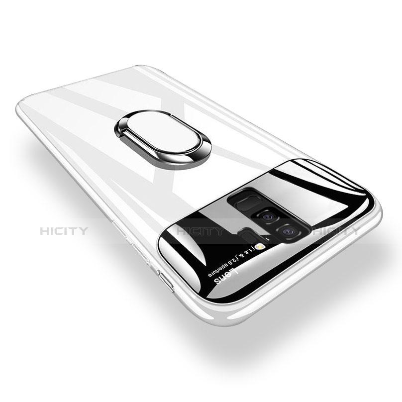 Handyhülle Hülle Kunststoff Schutzhülle Tasche Matt mit Magnetisch Fingerring Ständer A01 für Samsung Galaxy S9 Plus groß