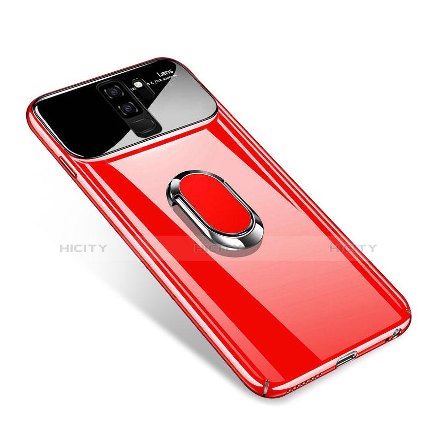 Handyhülle Hülle Kunststoff Schutzhülle Tasche Matt mit Magnetisch Fingerring Ständer A01 für Samsung Galaxy S9 Plus Pink Plus