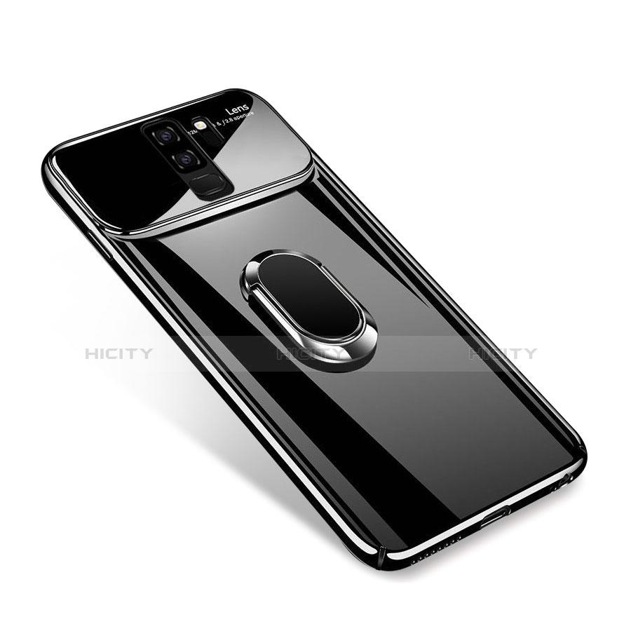 Handyhülle Hülle Kunststoff Schutzhülle Tasche Matt mit Magnetisch Fingerring Ständer A01 für Samsung Galaxy S9 Plus Schwarz Plus