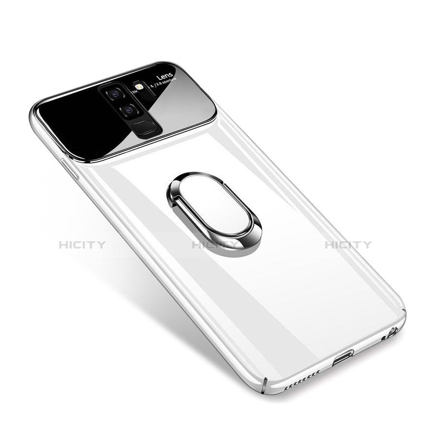 Handyhülle Hülle Kunststoff Schutzhülle Tasche Matt mit Magnetisch Fingerring Ständer A01 für Samsung Galaxy S9 Plus Weiß Plus
