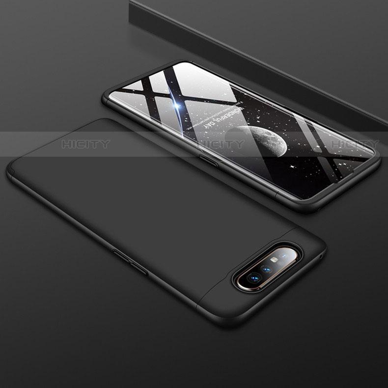 Handyhülle Hülle Kunststoff Schutzhülle Tasche Matt Vorder und Rückseite 360 Grad für Samsung Galaxy A80 Schwarz Plus