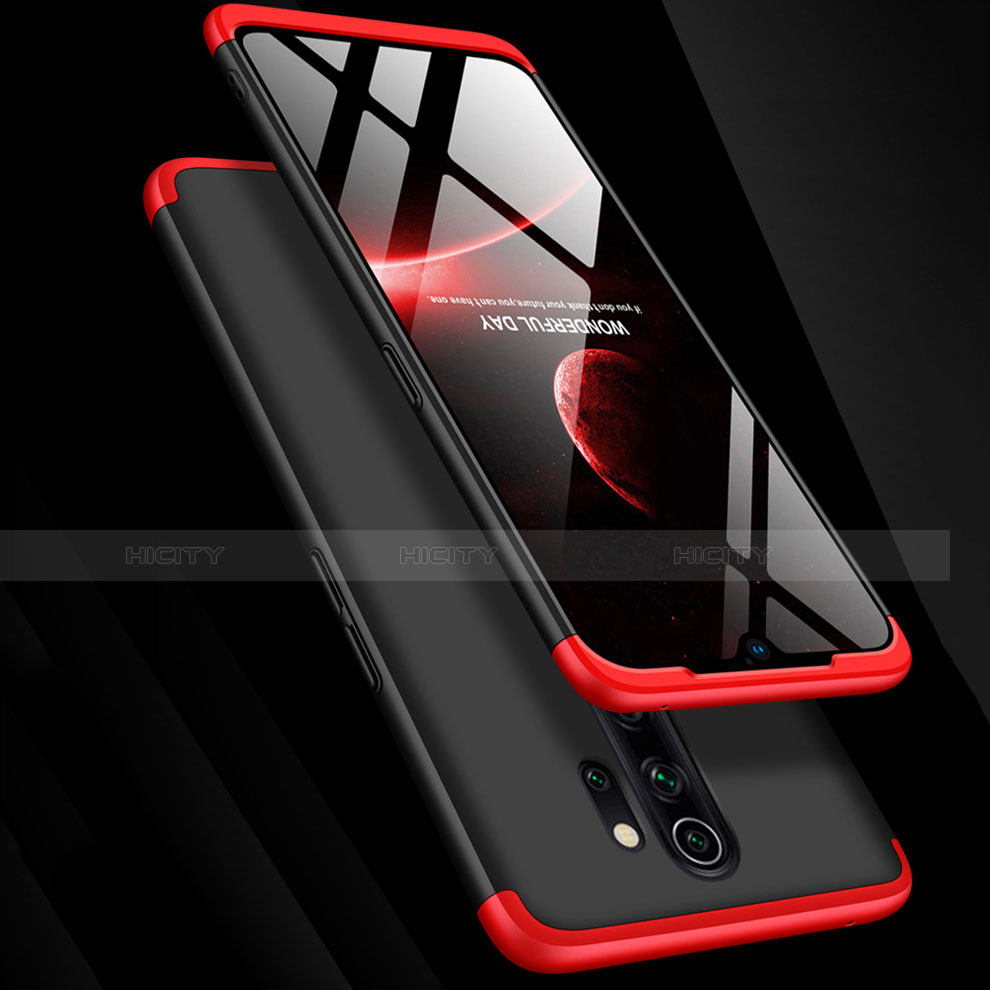 Handyhülle Hülle Kunststoff Schutzhülle Tasche Matt Vorder und Rückseite 360 Grad mit Fingerring Ständer für Xiaomi Redmi Note 8 Pro groß