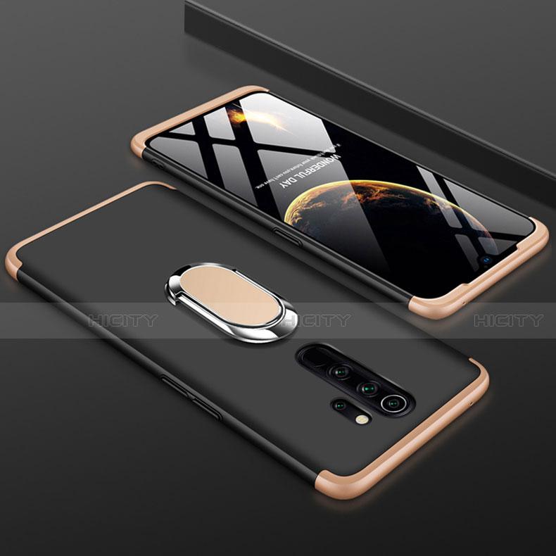 Handyhülle Hülle Kunststoff Schutzhülle Tasche Matt Vorder und Rückseite 360 Grad mit Fingerring Ständer für Xiaomi Redmi Note 8 Pro Gold und Schwarz Plus