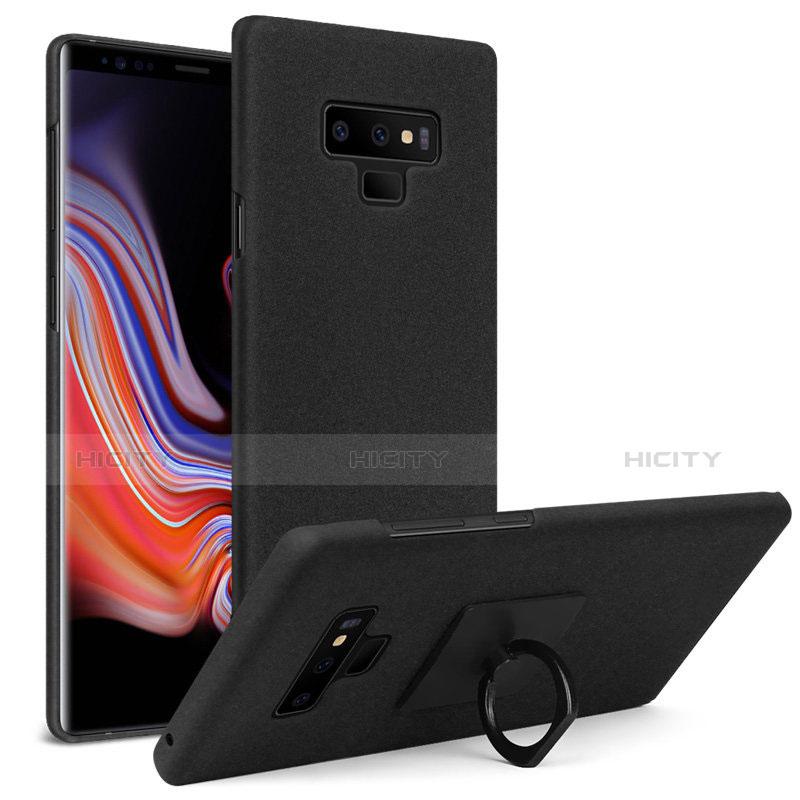 Handyhülle Hülle Kunststoff Schutzhülle Treibsand mit Fingerring Ständer für Samsung Galaxy Note 9 Schwarz Plus