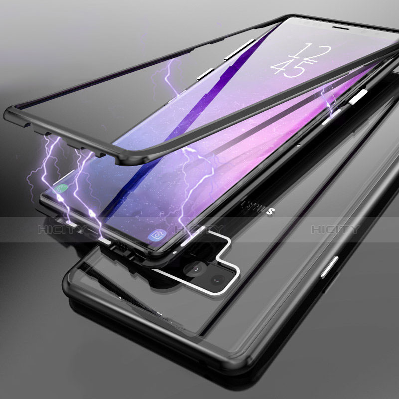 Handyhülle Hülle Luxus Aluminium Metall Durchsichtig Transparent Spiegel für Samsung Galaxy Note 9 Schwarz groß