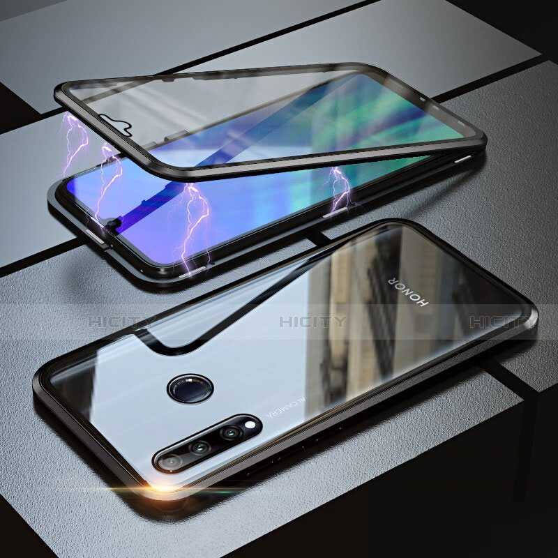 Handyhülle Hülle Luxus Aluminium Metall Rahmen Spiegel 360 Grad Tasche für Huawei Honor 20 Lite Schwarz Plus
