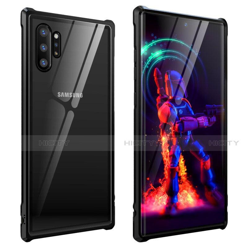 Handyhülle Hülle Luxus Aluminium Metall Rahmen Spiegel 360 Grad Tasche G01 für Samsung Galaxy Note 10 Plus 5G Schwarz Plus