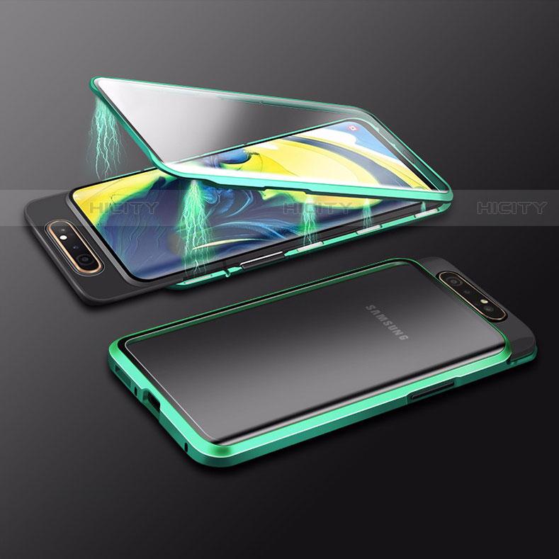 Handyhülle Hülle Luxus Aluminium Metall Rahmen Spiegel 360 Grad Tasche M01 für Samsung Galaxy A80 groß