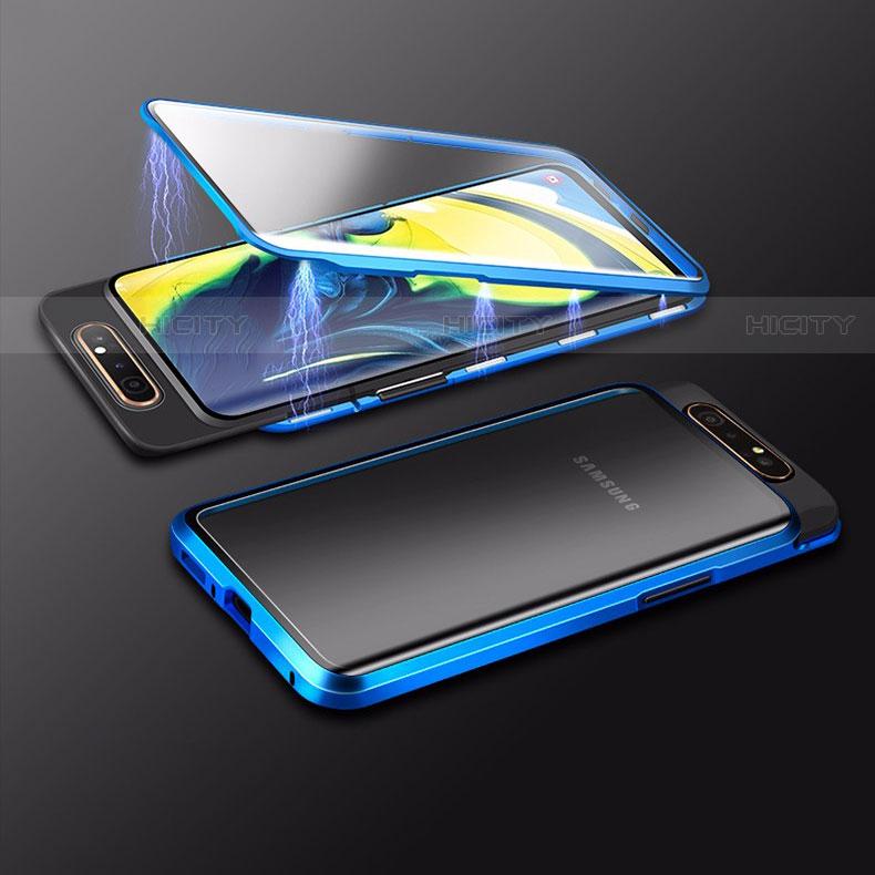 Handyhülle Hülle Luxus Aluminium Metall Rahmen Spiegel 360 Grad Tasche M01 für Samsung Galaxy A80 Blau Plus