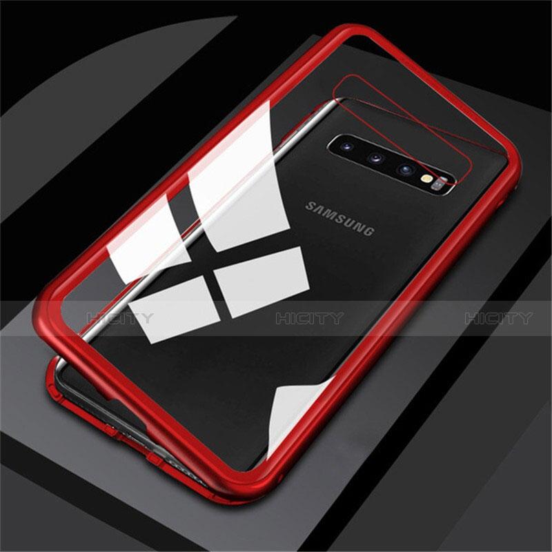 Handyhülle Hülle Luxus Aluminium Metall Rahmen Spiegel 360 Grad Tasche M01 für Samsung Galaxy S10 Rot Plus