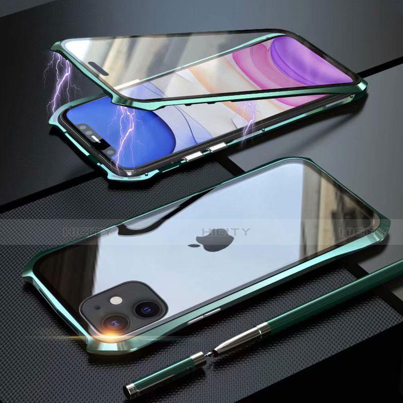 Handyhülle Hülle Luxus Aluminium Metall Rahmen Spiegel 360 Grad Tasche M06 für Apple iPhone 11 Grün Plus
