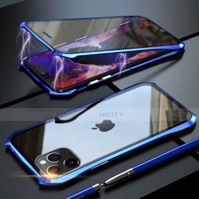 Handyhülle Hülle Luxus Aluminium Metall Rahmen Spiegel 360 Grad Tasche M10 für Apple iPhone 11 Pro Max groß
