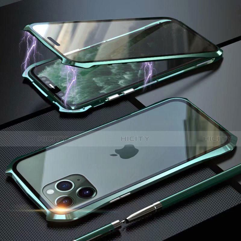 Handyhülle Hülle Luxus Aluminium Metall Rahmen Spiegel 360 Grad Tasche M10 für Apple iPhone 11 Pro Max Grün Plus