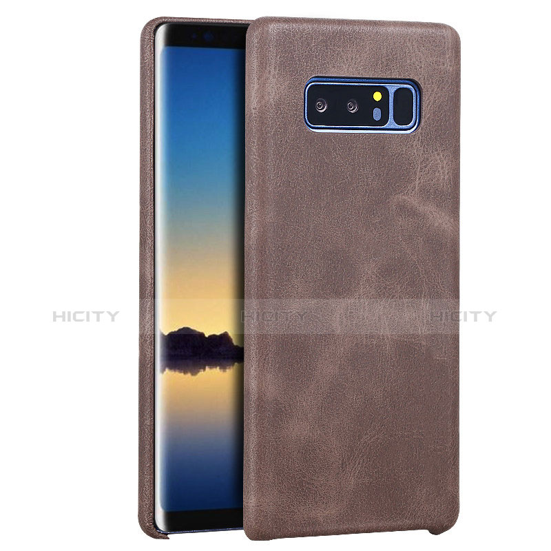 Handyhülle Hülle Luxus Leder Schutzhülle für Samsung Galaxy Note 8 Braun Plus