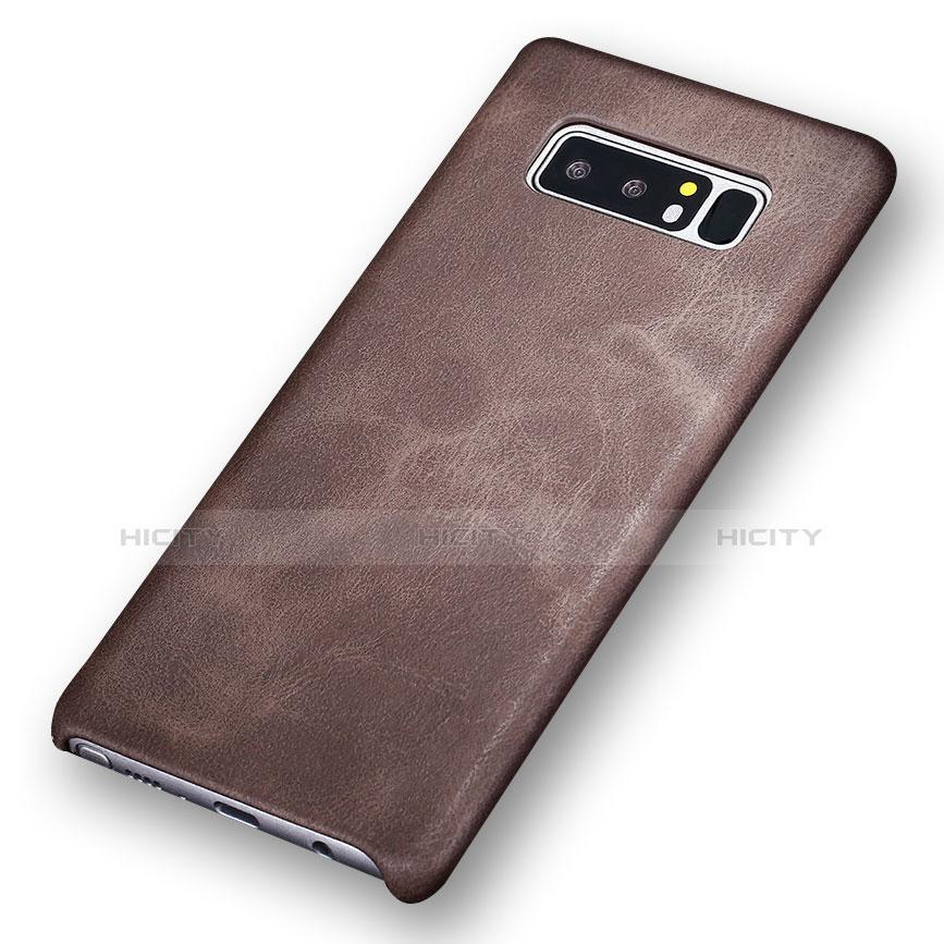 Handyhülle Hülle Luxus Leder Schutzhülle für Samsung Galaxy Note 8 Braun groß