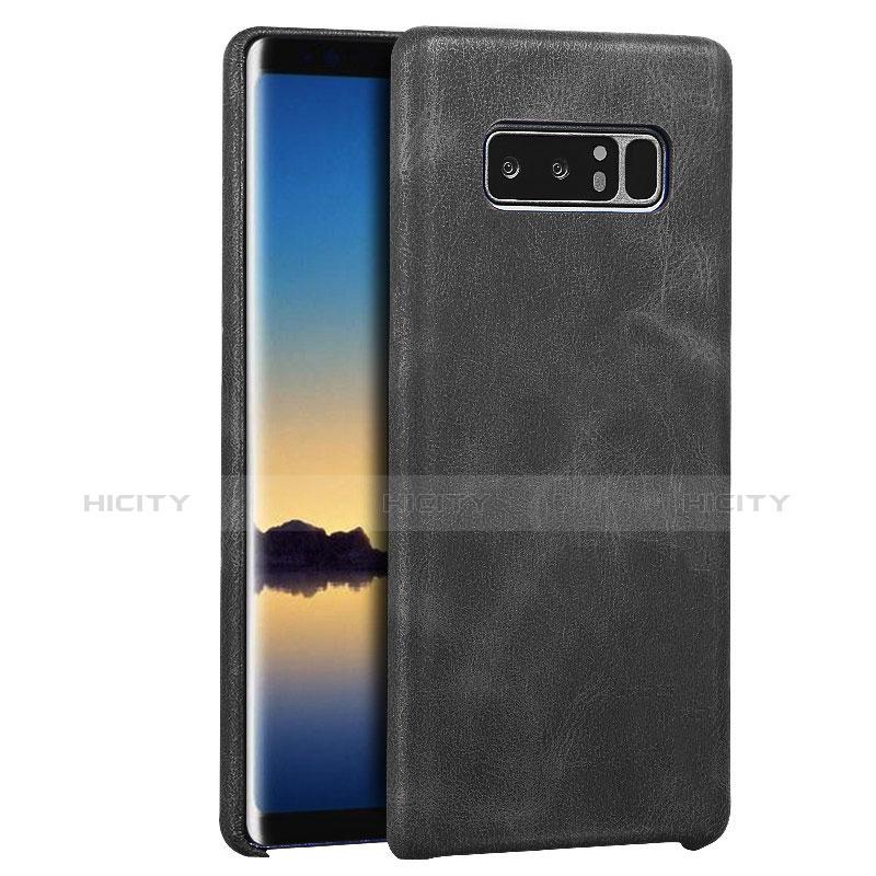Handyhülle Hülle Luxus Leder Schutzhülle für Samsung Galaxy Note 8 Schwarz Plus