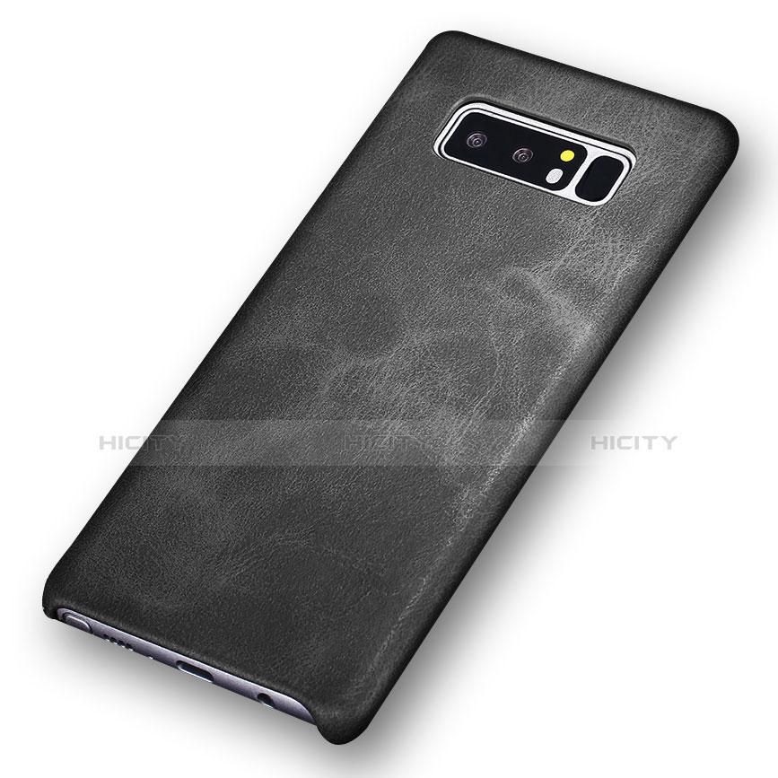 Handyhülle Hülle Luxus Leder Schutzhülle für Samsung Galaxy Note 8 Schwarz groß