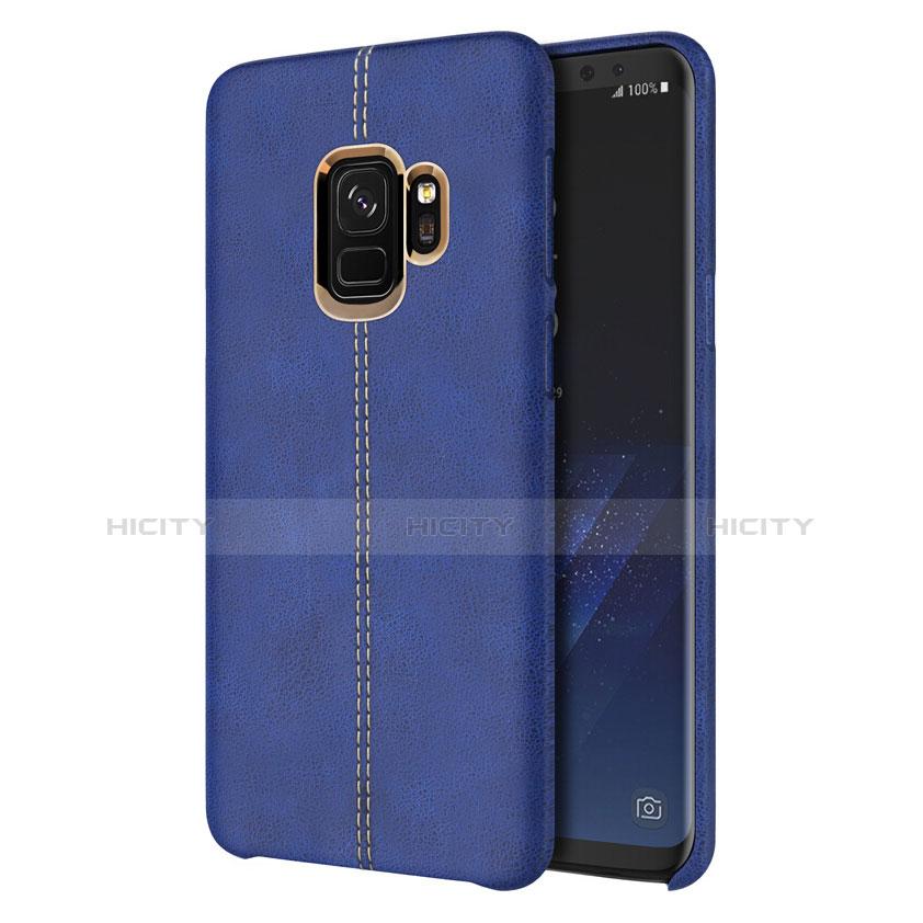 Handyhülle Hülle Luxus Leder Schutzhülle für Samsung Galaxy S9 Blau groß