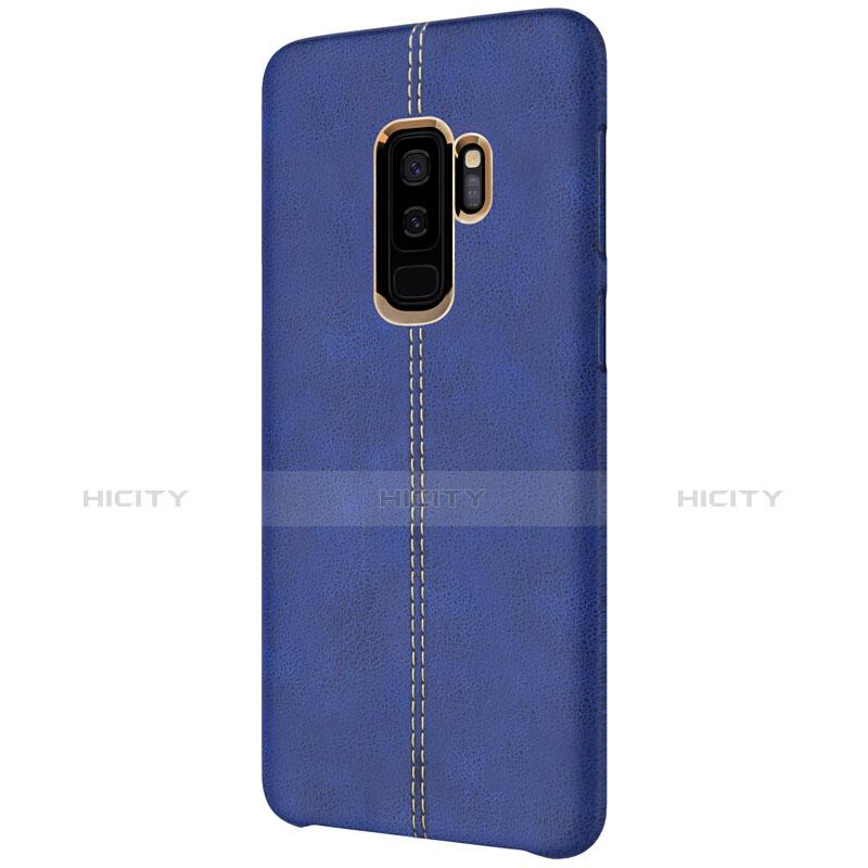 Handyhülle Hülle Luxus Leder Schutzhülle für Samsung Galaxy S9 Plus Blau groß