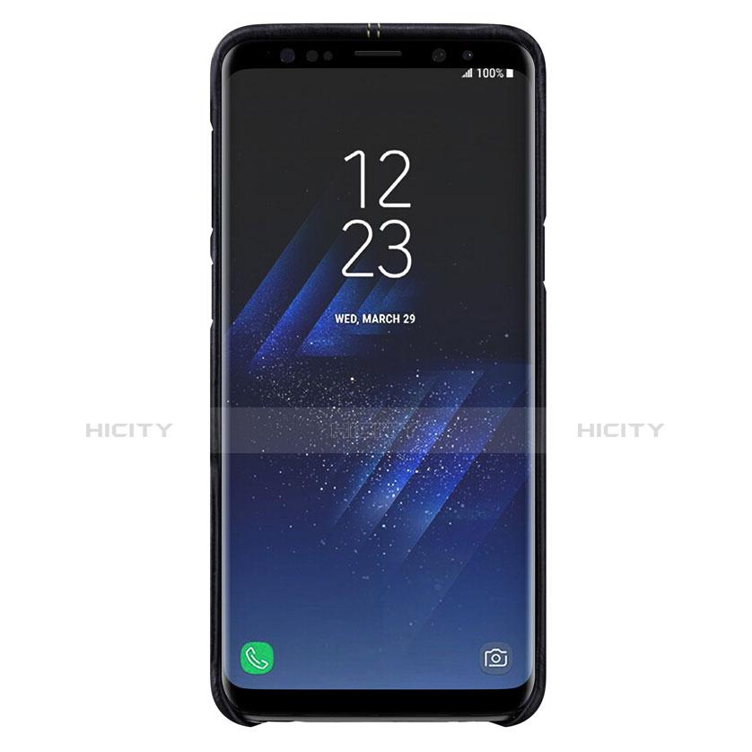 Handyhülle Hülle Luxus Leder Schutzhülle für Samsung Galaxy S9 Schwarz groß