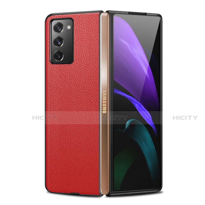 Handyhülle Hülle Luxus Leder Schutzhülle für Samsung Galaxy Z Fold2 5G Rot Plus