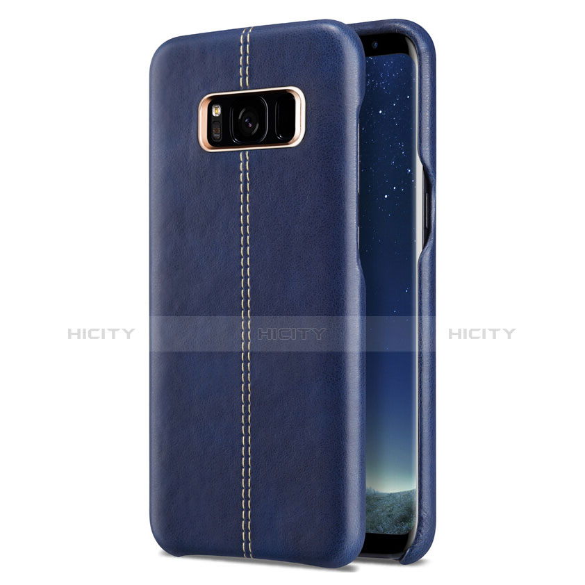Handyhülle Hülle Luxus Leder Schutzhülle L01 für Samsung Galaxy S8 Blau groß
