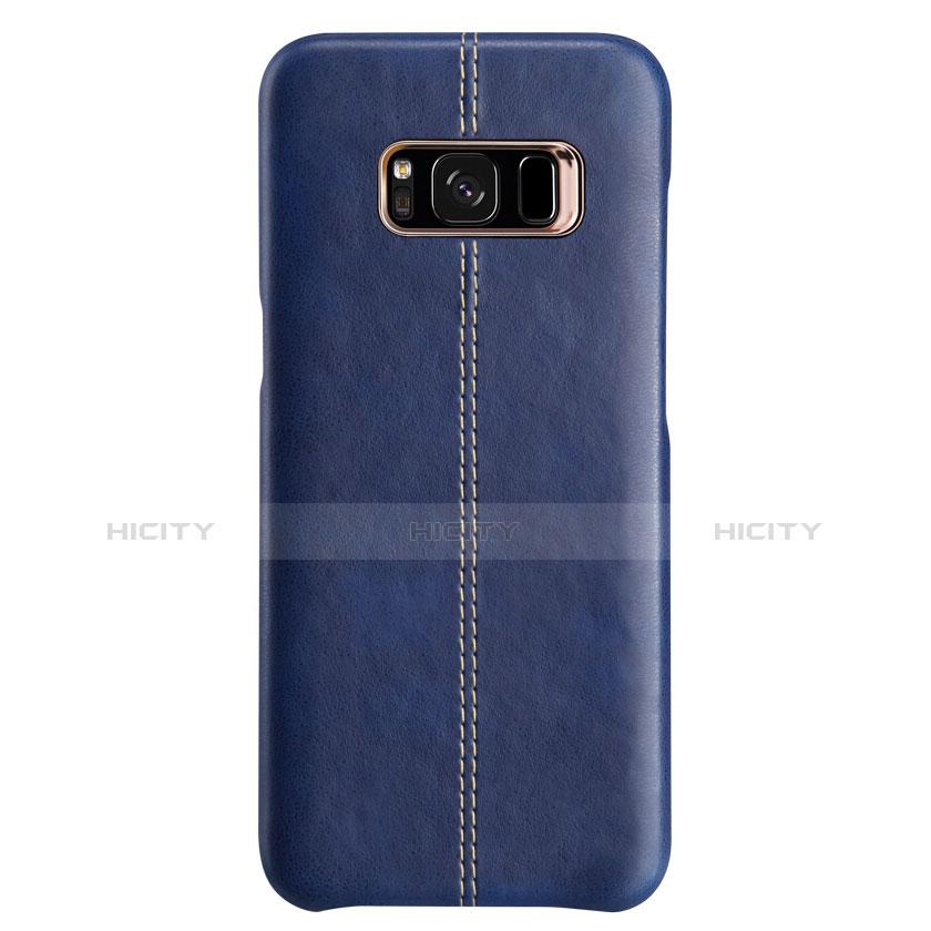 Handyhülle Hülle Luxus Leder Schutzhülle L01 für Samsung Galaxy S8 Plus Blau groß