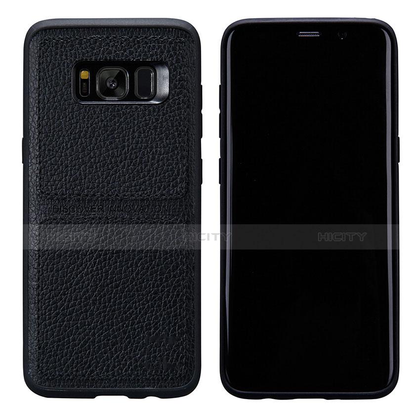 Handyhülle Hülle Luxus Leder Schutzhülle L01 für Samsung Galaxy S8 Plus Schwarz Plus