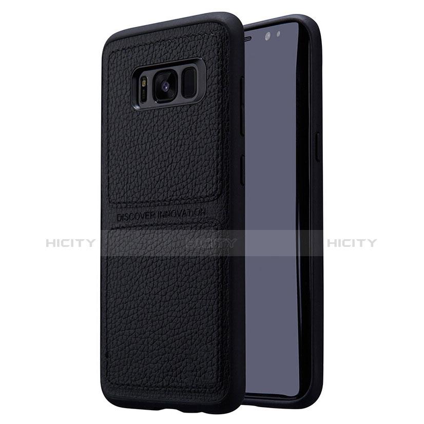 Handyhülle Hülle Luxus Leder Schutzhülle L01 für Samsung Galaxy S8 Plus Schwarz groß