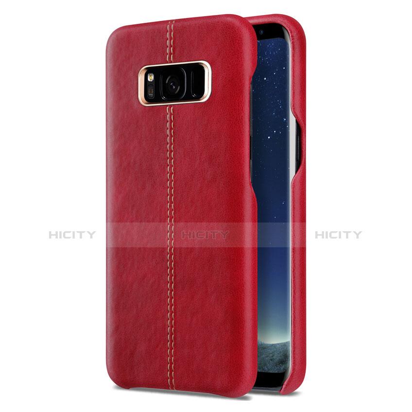 Handyhülle Hülle Luxus Leder Schutzhülle L01 für Samsung Galaxy S8 Rot groß