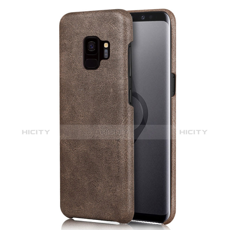 Handyhülle Hülle Luxus Leder Schutzhülle L01 für Samsung Galaxy S9 Braun Plus