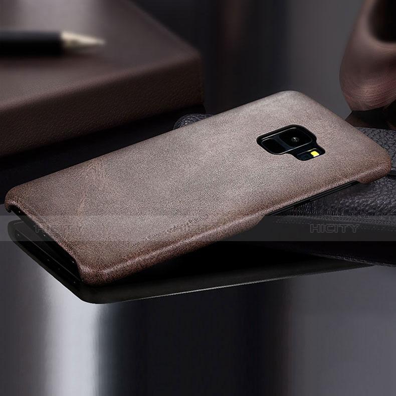 Handyhülle Hülle Luxus Leder Schutzhülle L01 für Samsung Galaxy S9 Braun groß