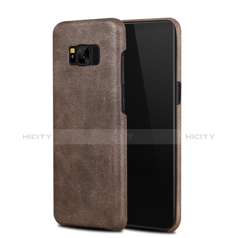 Handyhülle Hülle Luxus Leder Schutzhülle L02 für Samsung Galaxy S8 Braun Plus