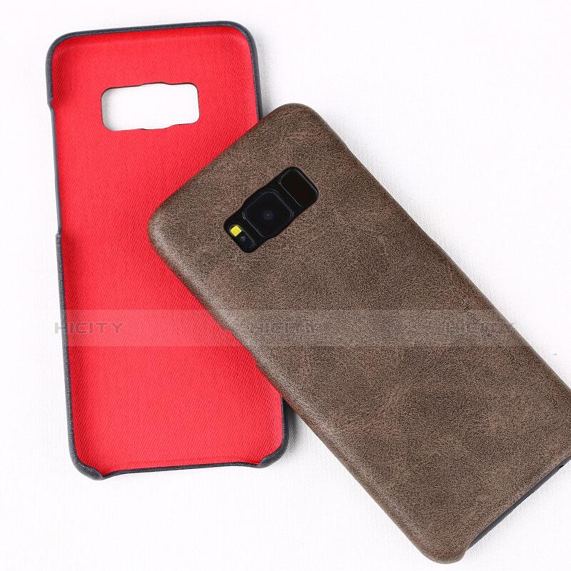 Handyhülle Hülle Luxus Leder Schutzhülle L02 für Samsung Galaxy S8 Braun groß