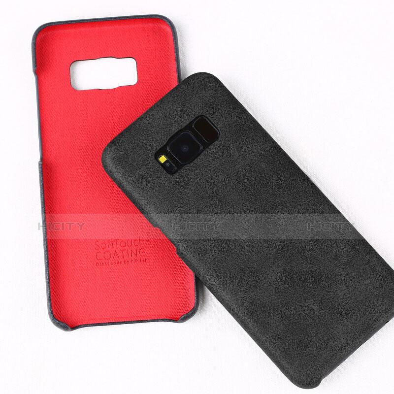 Handyhülle Hülle Luxus Leder Schutzhülle L02 für Samsung Galaxy S8 Schwarz groß
