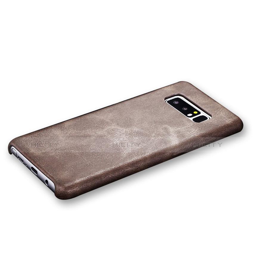 Handyhülle Hülle Luxus Leder Schutzhülle R01 für Samsung Galaxy Note 8 Duos N950F Braun