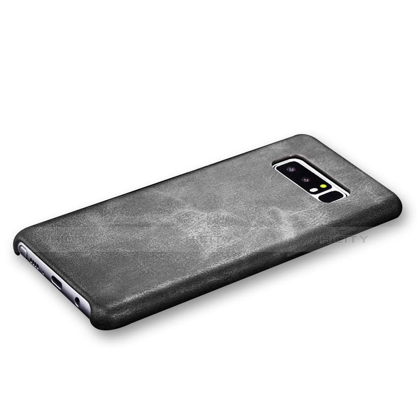 Handyhülle Hülle Luxus Leder Schutzhülle R01 für Samsung Galaxy Note 8 Duos N950F Schwarz groß