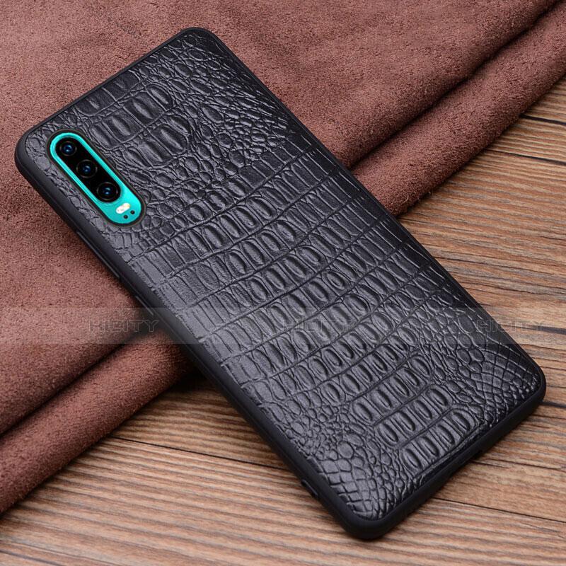 Handyhülle Hülle Luxus Leder Schutzhülle R02 für Huawei P30 Schwarz Plus