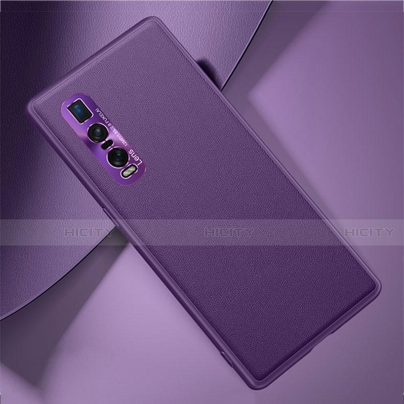 Handyhülle Hülle Luxus Leder Schutzhülle U01 für Oppo Find X2 Pro Violett Plus