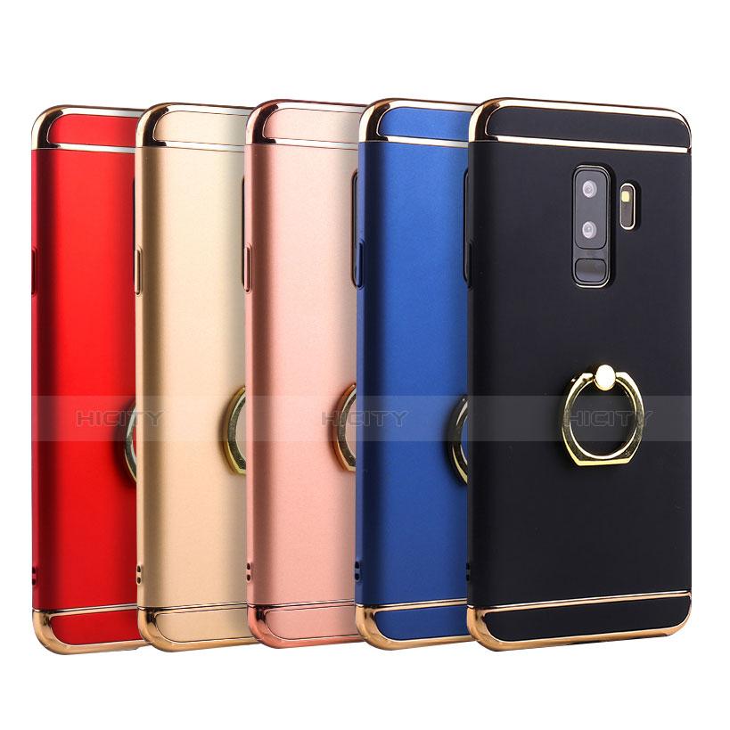 Handyhülle Hülle Luxus Metall Rahmen und Kunststoff Schutzhülle Tasche mit Fingerring Ständer A01 für Samsung Galaxy S9 Plus groß