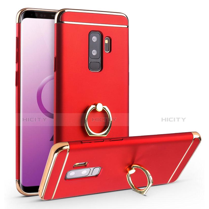 Handyhülle Hülle Luxus Metall Rahmen und Kunststoff Schutzhülle Tasche mit Fingerring Ständer A01 für Samsung Galaxy S9 Plus Rot Plus