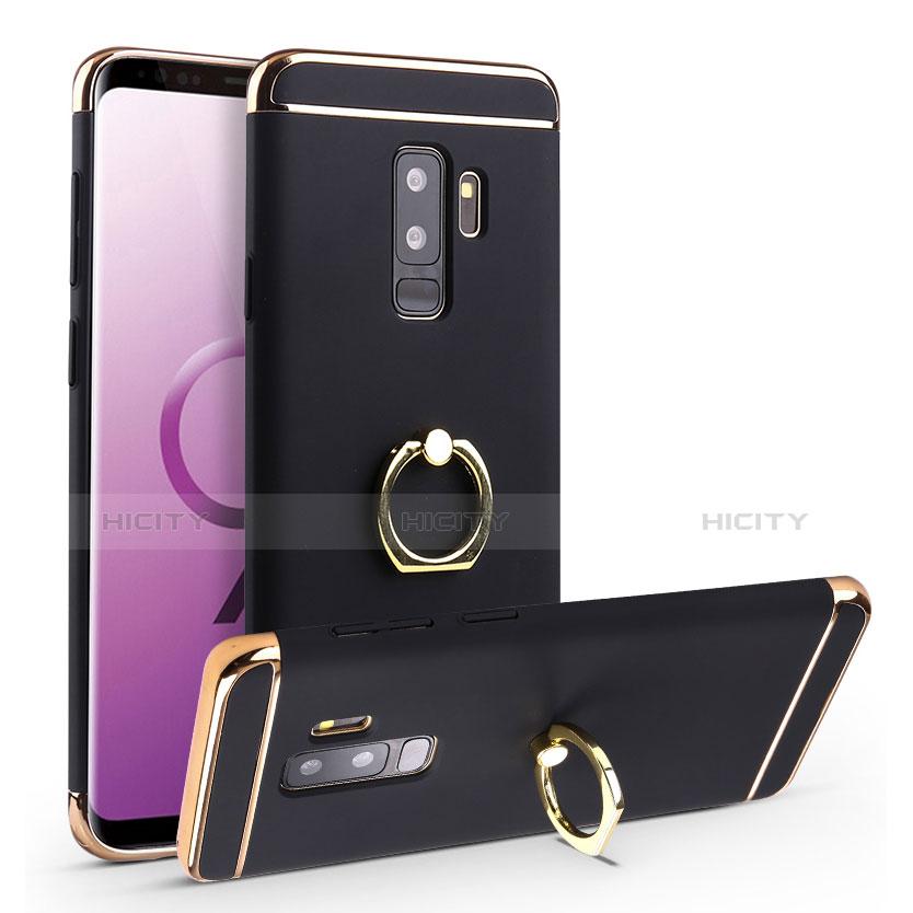 Handyhülle Hülle Luxus Metall Rahmen und Kunststoff Schutzhülle Tasche mit Fingerring Ständer A01 für Samsung Galaxy S9 Plus Schwarz Plus