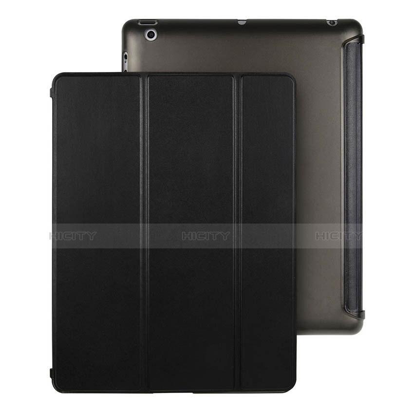 Handyhülle Hülle Stand Tasche Leder für Apple iPad 4 Schwarz Plus
