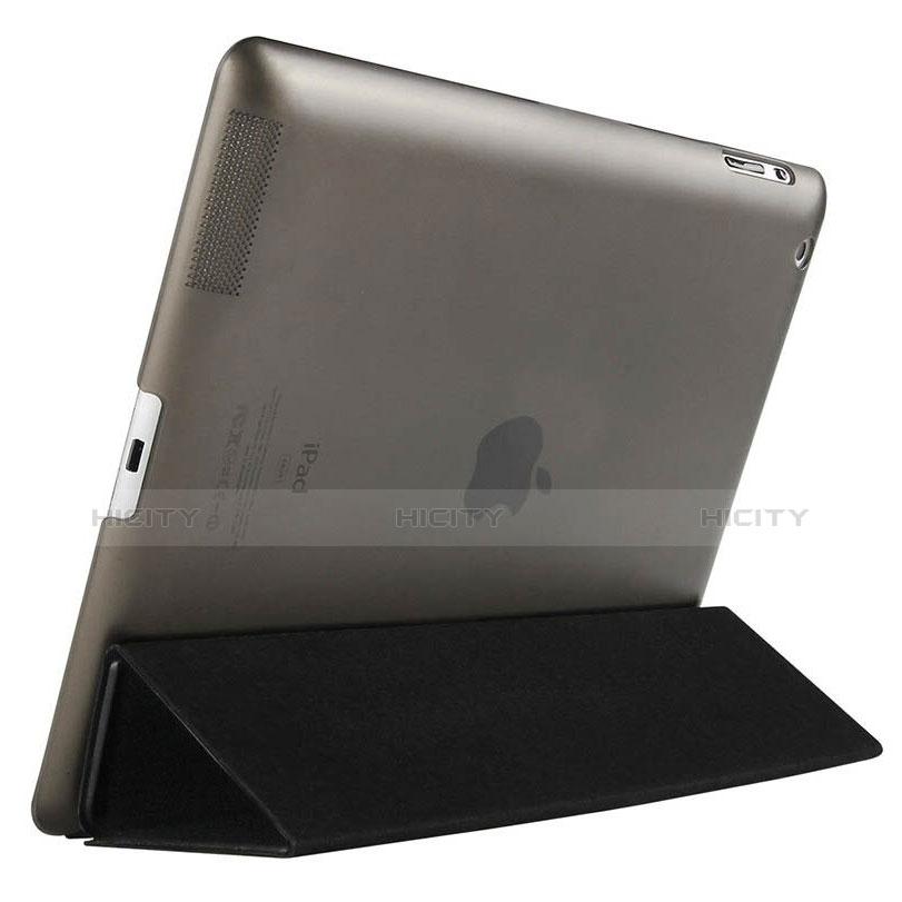 Handyhülle Hülle Stand Tasche Leder für Apple iPad 4 Schwarz groß
